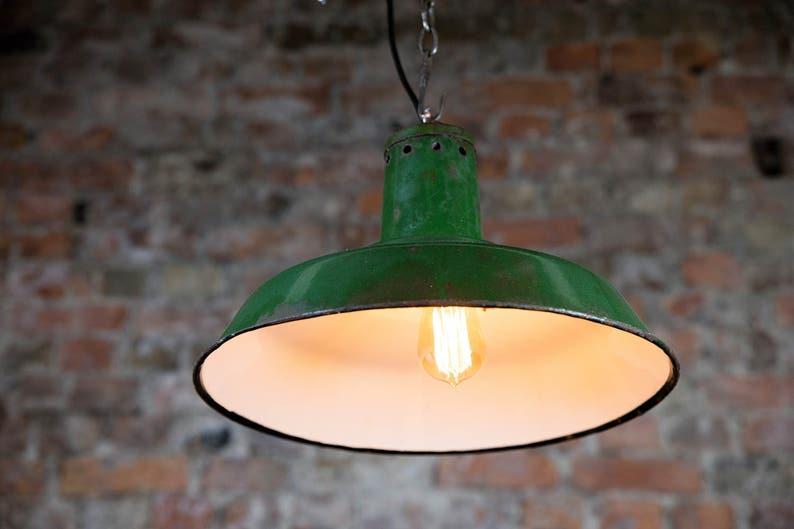 9606763381c8 Industrial lamp green enamel pendant lamp vintage industrial | Etsy