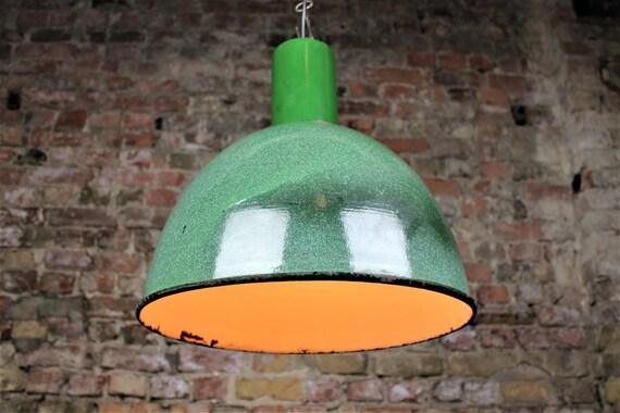 9ed8255fdf0f Industrial lamp Green enamel pendant lamp vintage industrial | Etsy