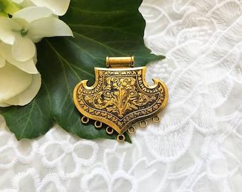 Indian Antique Brass Tone Ethnic Vintage Look Metal Pendant Jewellery Supplies