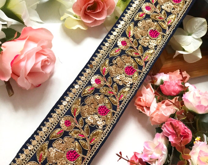 9 Yard Latest Indian two tone Zari Cutwork Kinari Sari Dupatta Lace Trim Boarder