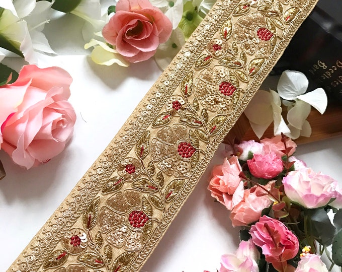 9 Yard Latest Indian Wide Golden Zari  work colour fabric Lace  trim Boarder