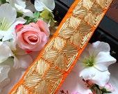 Orange Gota Decorative Sewing Dupatta Lace,Saree Trim, Indian Trim,Fabric Indian Craft, Sash, Lace Border Trimming, 8 Cm Wide- 1 Yard