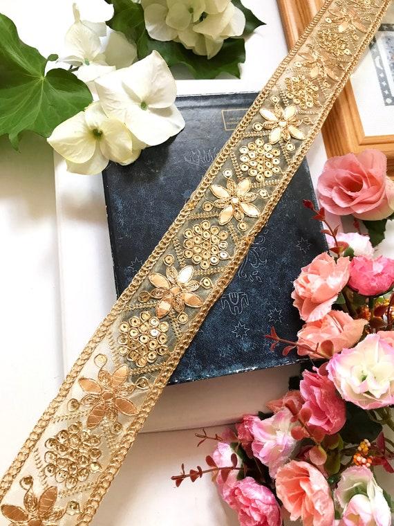 1 Meter Latest Indian Antique Gold Zari Gota Net Sari Dupata Border Trim Lace