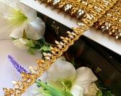 Antique Gold Latest Indian Zari Mirror stone Work Craft Sari Dupatta Kinari border lace Trim 2 cm wide