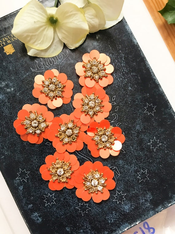 5 Pcs Latest Indian Round Flower Sequin Dress Rhinestone zardosi Dress Applique