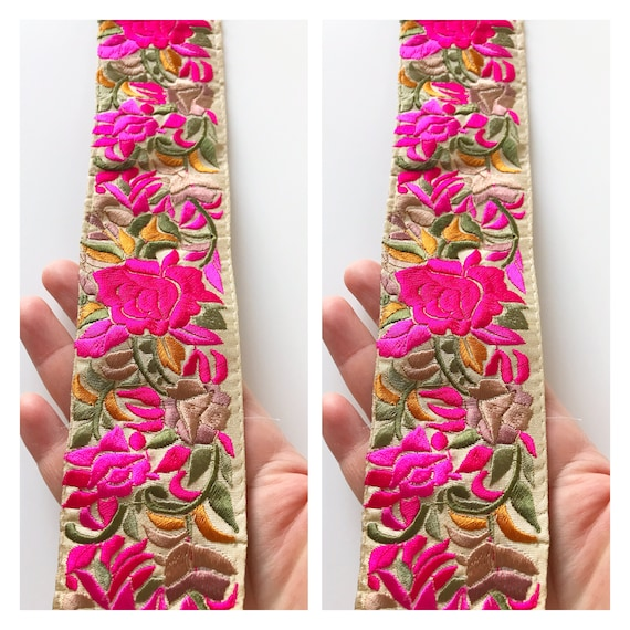 7b7eacf0cfd2 Pink Indian Embroidered Lace, Decorative Trimmings, Saree Border, Floral  Fabric Lace, Embroidered Zari Trim, Sewing Supply- 1 yard
