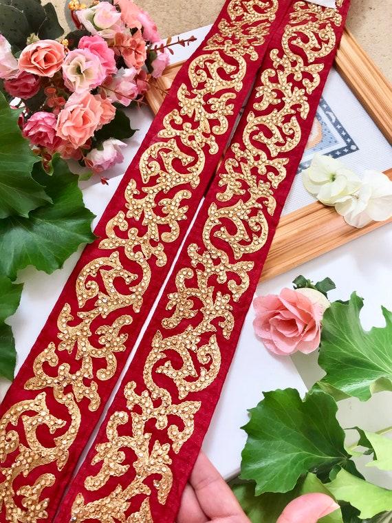 1 Yards Latest Indian Golden Zari Stone work Sari Dupatta LaceTrim Colour Fabric