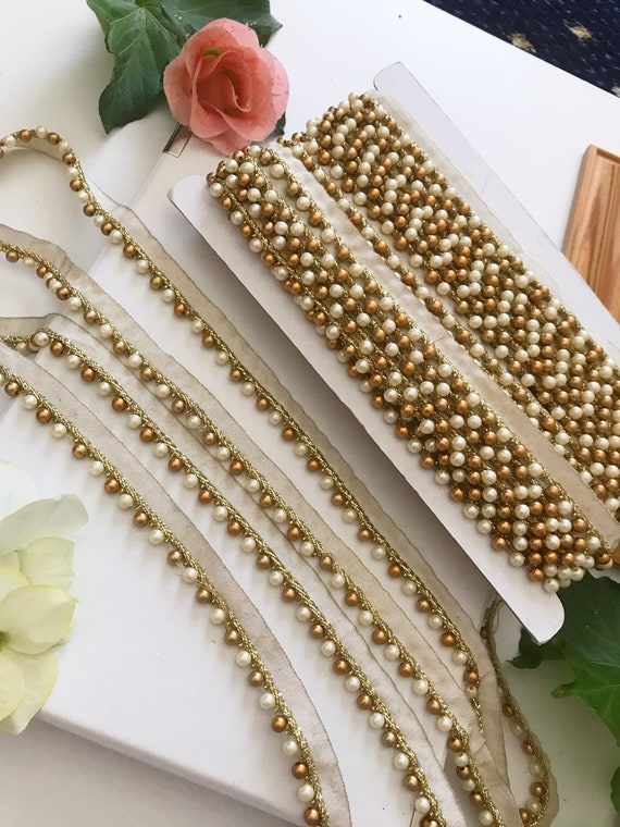 Pearl Trim Bridal Wear Embellishment Gold Beaded Trim Pearl Lace- 9 yards Indian Trim