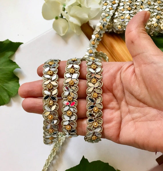 Golden 5 Yards Latest Indian Mirror Silver Stone Work Craft Sari Dupatta Kinari boarder lace Trim Gold 1.8 cm wide