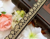 Beautiful Black Indian Gold Sequin Cutwork Colour Fabric ,Costume Crafting Trim for Bridal Dupatta,Sari Border Lace 9 Yards , 3.5 cm Wide