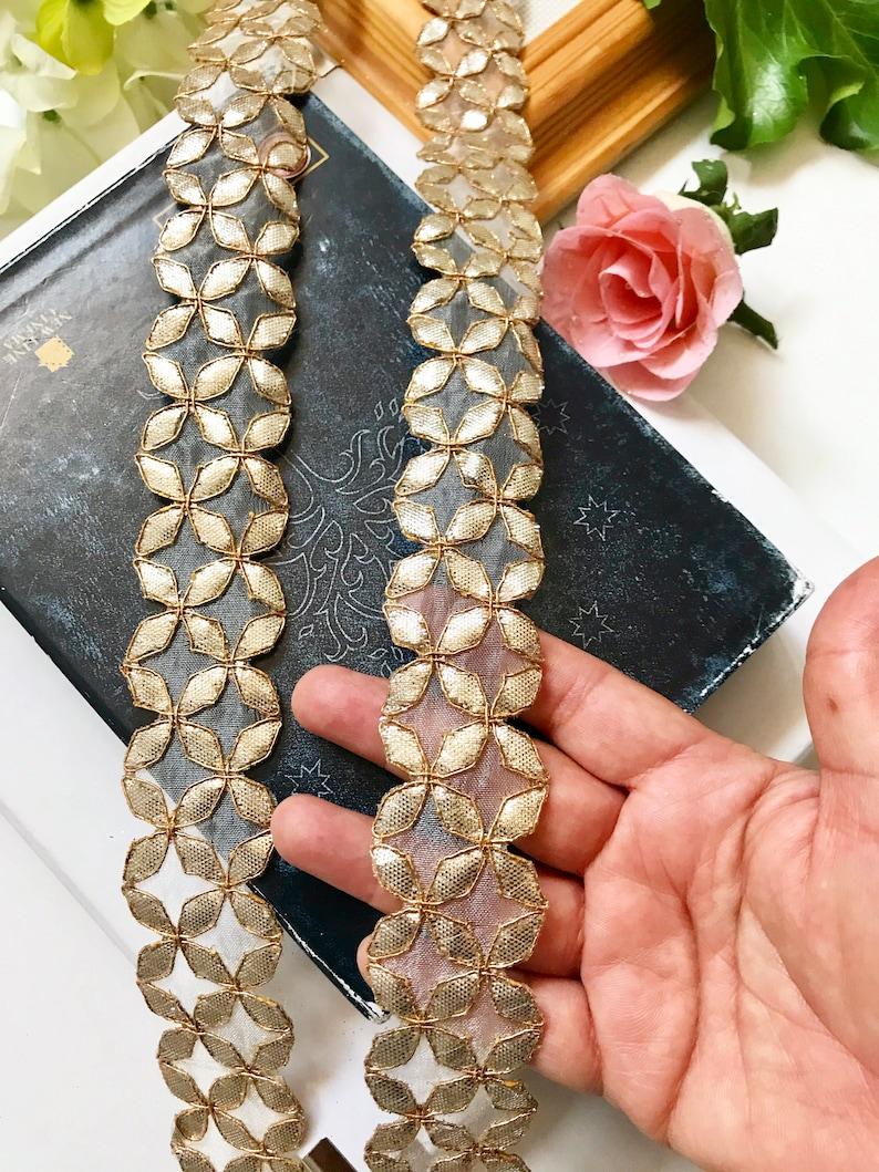 1 Meters Indian Sparkly GoldenZari work Kinari Border Ethenic Ribbon Trim Lace