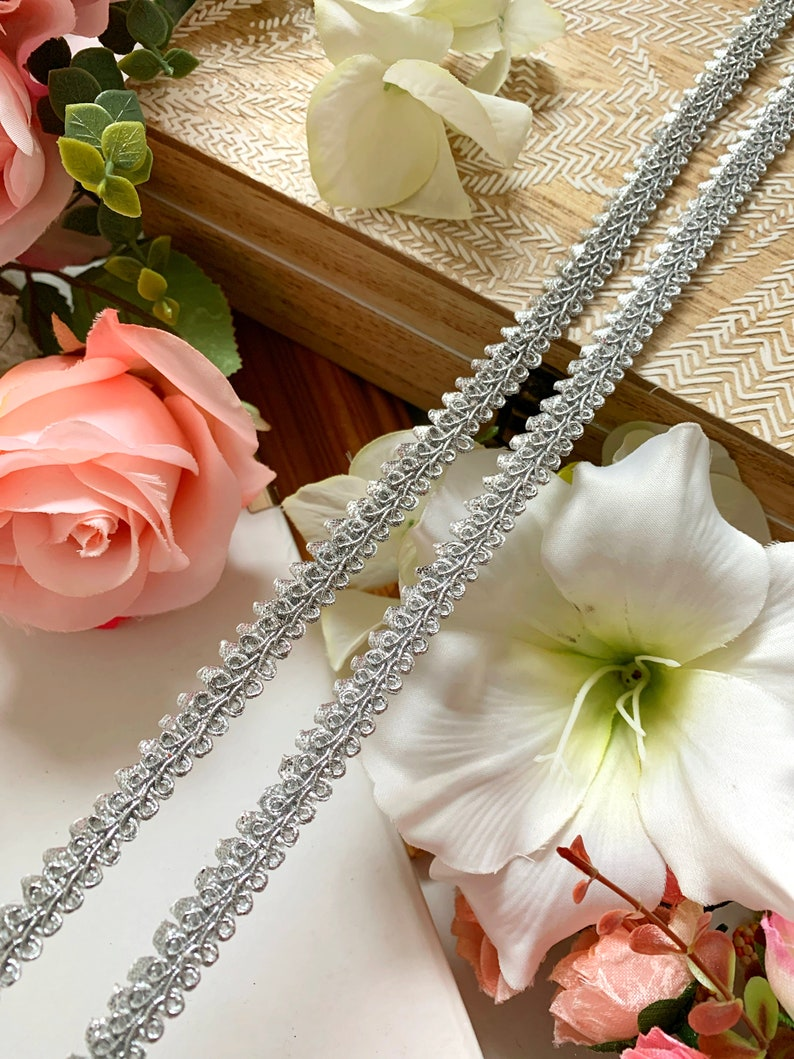 Mini  Silver Triangle Piping lace Trim,Edge Finishing,Gotta Patti,Indian Decorative Trim,Embellish Piping Cord Trim,Ribbon 9 Yards 10695LM