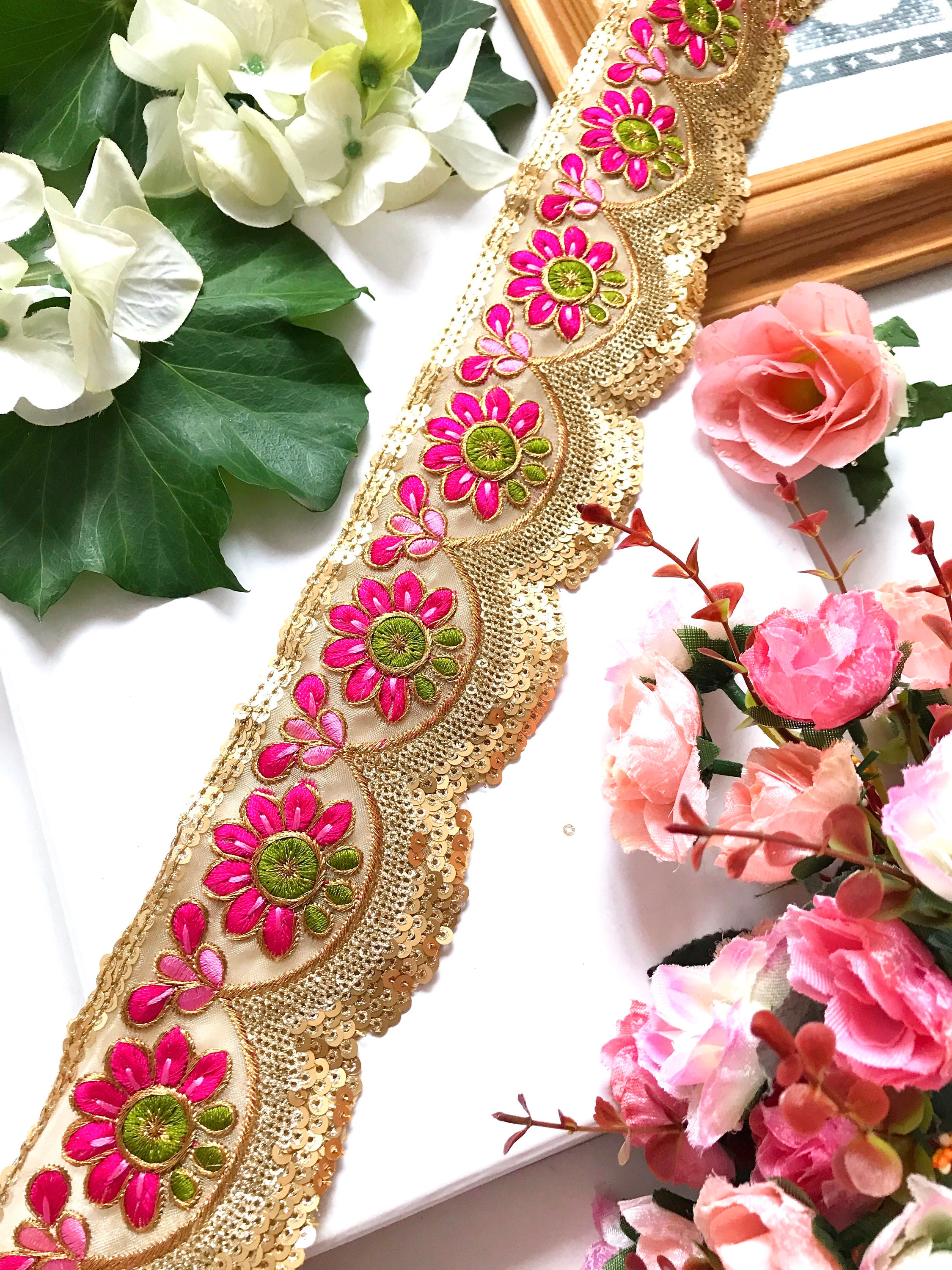Floral Sequin Net Fabric Indian Embroidered Laces Trims Saree Dupatta border