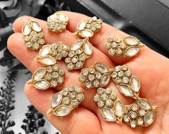 Antique Gold Stone Latest Indian Flower Shaped beaded Handmade Embroidery Headband Zardosi Applique vik06