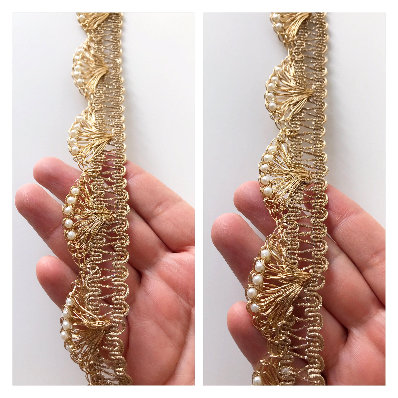9 Yards Latest Indian Golden Zari Pankhi Scallop Sari Dupatta Braided LaceTrim