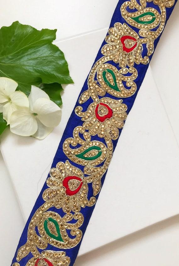 1 yardas cinta de Jacquard más recientes de la India Adorno Sari frontera Decorativo elaboración de encaje