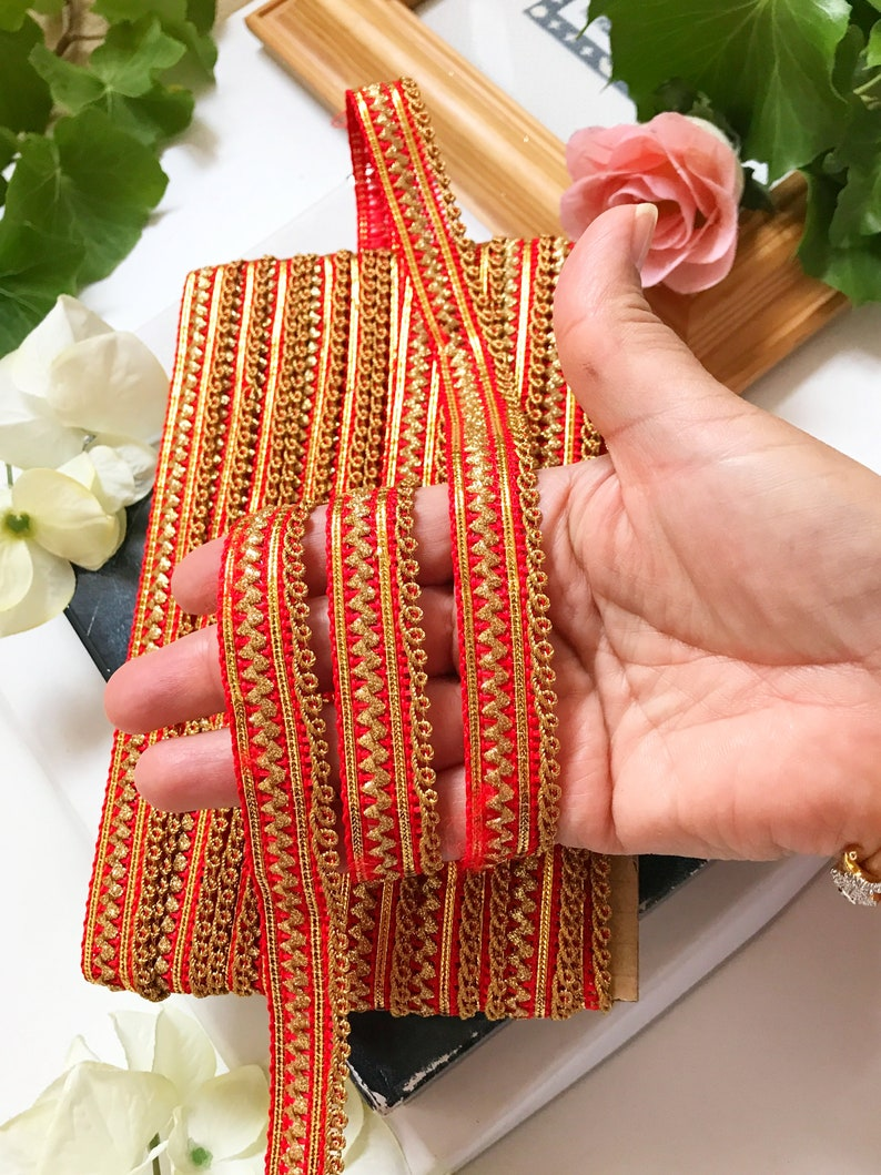 1.9 cm Narrow Red velvet Bridal Trim Bridal wear laces Quilting trim wholesale laces Indian ribbon Width 1.9 cm-Price is for 9 Yard