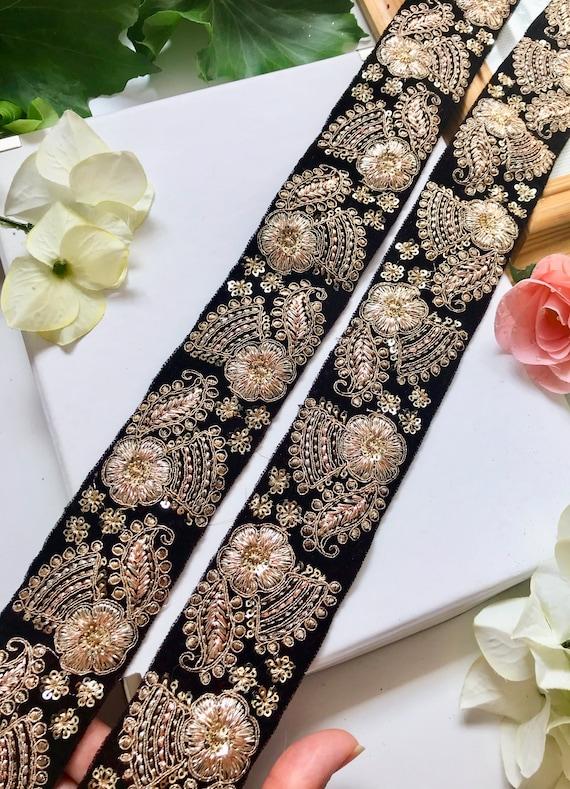 1 Yard Latest Indian Pink Zari Sequin Velvet Lehenga Dupatta Sari lace Trim