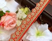 Orange Indian Gold Sequin Cutwork Colour Fabric ,Costume Crafting Trim for Bridal Dupatta,Sari Border Lace 9 Yards , 3.5 cm Wide