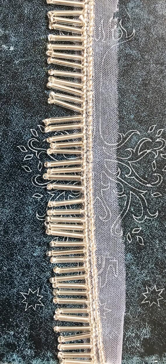 Silver Beads Cut Dana Bugle Laceindian Pipe Trimtubelight Bead Handmade Fringe Lace Bridal Designer Trim2 Cm W 1 Yards