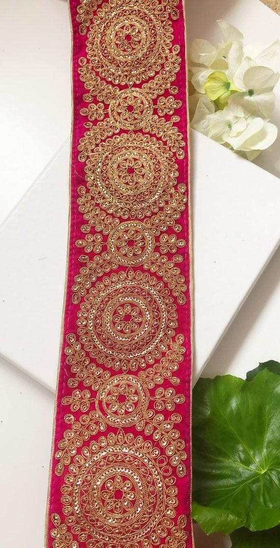 1 Yards Latest Indian Zari Sequin Embroidered Dupatta Sari Border Trim Boarder