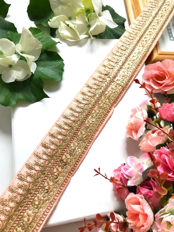 9 Yards Latest Indian Golden Zari work Dupatta Sari Craft Lace Border Trim