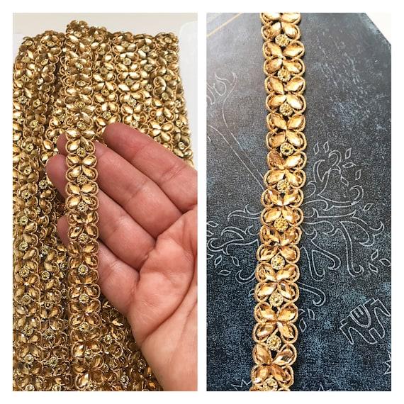 1 Yards Latest Indian Cutwork Antique Gold Zari Grey Floral Sari Dupatta Lace