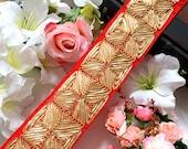 Bridal Red Gota Decorative Sewing Dupatta Lace,Saree Trim, Indian Trim,Fabric Indian Craft, Sash, Lace Border Trim, 8 Cm Wide- 1 Yard LMRED