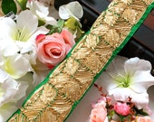 Bridal Green Gota Decorative Sewing Dupatta Lace,Saree Trim, Indian Trim,Fabric Indian Craft, Sash, Lace Border Trimming, 8 Cm Wide- 1 Yard