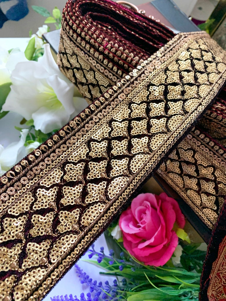 Bridal Maroon Velvet Fabric Trim  Embroidered Lace Indian Sari Border gold Sequined embellished Sewing Crafting Lace 2.75 In Wide