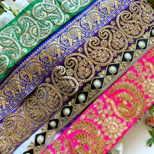Sari Border Dupatta Decorative Craft Lace Trim Colour Fabric Sewing Indian BottleGreen Golden Gota Leharia Piping wide 1.3 cm,13 MM