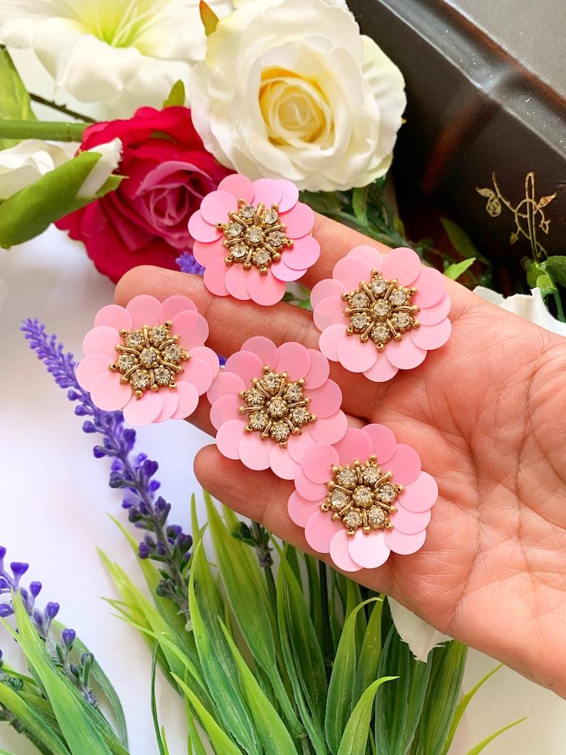 Sequin Cluster Petals Patches LM73 Rhinestone Applique Jacket Patch Indian Applique 5 Round Baby Pink Floral Appliques