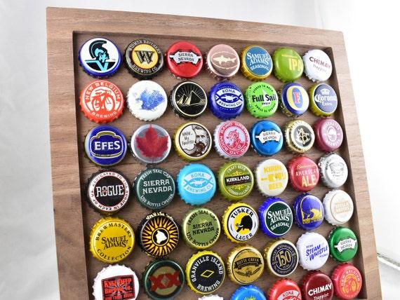 Bottle Cap Frame: Walnut Wood / Beer Bottle Cap Display /