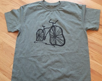 Bicycle, Lino Block Printed, Heather Green T-shirt