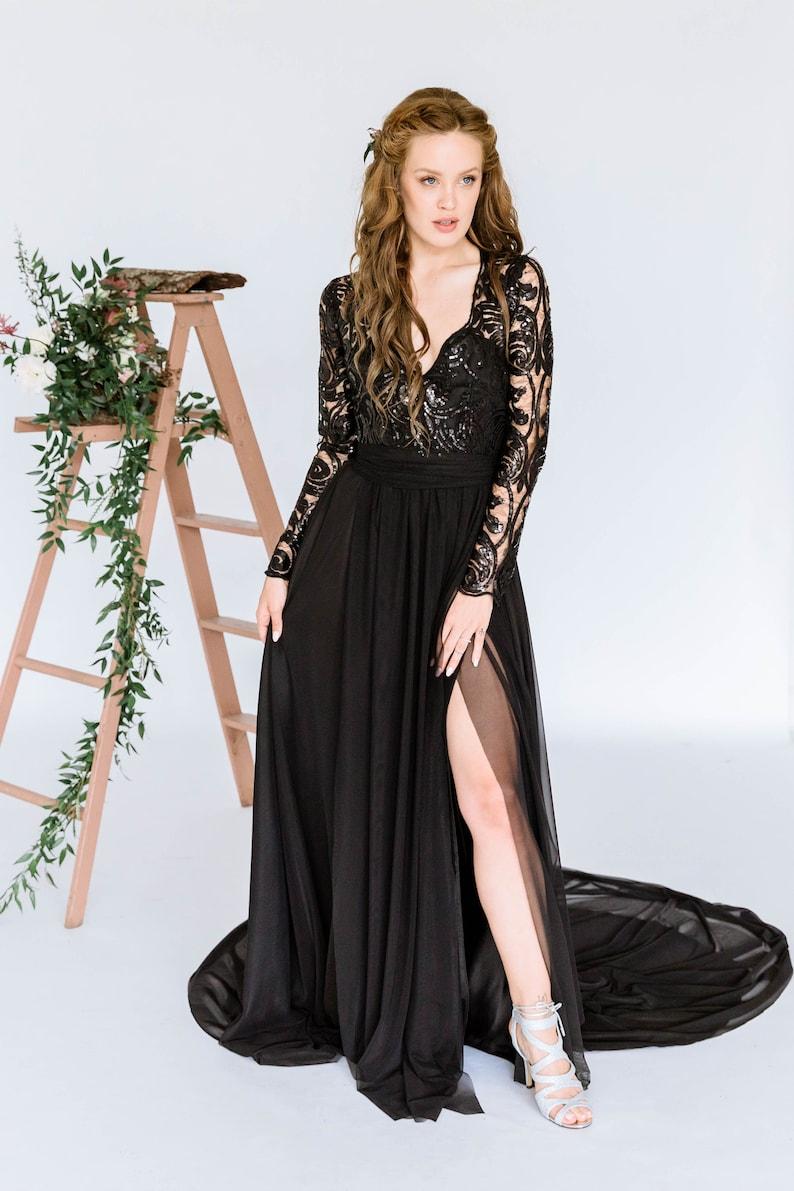 Electra gown: black wedding dress wedding dress dress with image 0