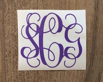 3.5 inch Monogram Decal / Monogram Sticker / Yeti Monogram Decal Sticker / Camelbak Monogram Decal Sticker / Laptop and Car Decal Sticker