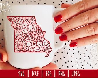 Missouri State Mandala Zentangle SVG / United States Mandala / USA US / Missouri Zentangle / Patriotic Mandala Cut File / svg dxf