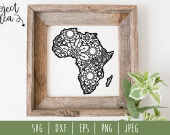 Africa Mandala Zentangle SVG / Africa Cut File / Country Mandala / Africa Zentangle / Flower Mandala / Africa svg dxf eps png jpeg