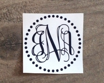 2.25 inch Monogram Decal / Monogram Sticker / iPhone Monogram Decal Sticker / Phone Monogram Decal Sticker / Laptop and Small Decal Sticker