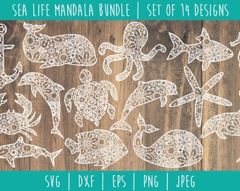 Sea Life Mandala Zentangle Bundle - Set of 14 SVG / Nautical Animal Mandala / Ocean Zentangle / Sea Animal Mandala Cut File / svg dxf jpeg
