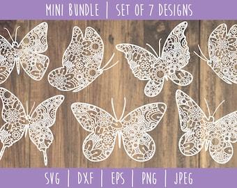 Butterfly Mandala Zentangle Bundle - Set of 7 SVG / Animal Mandala / Butterfly Zentangle / Butterfly Mandala Cut File / svg dxf jpeg
