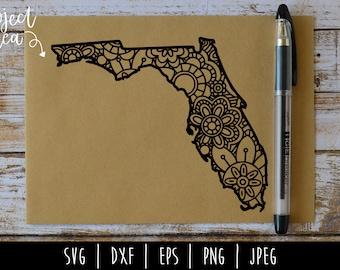 Florida State Mandala Zentangle SVG / United States Mandala / USA US / Florida Zentangle / Patriotic Mandala Cut File / svg dxf