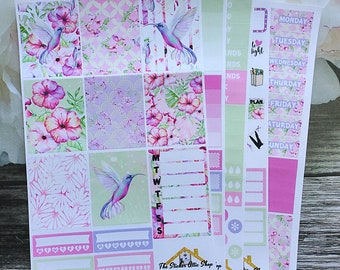 "Planner Sticker Kit /Hummingbird/ ""Tropical"" Weekly Kit / Erin Condren Vertical Planner Stickers / ECLP"