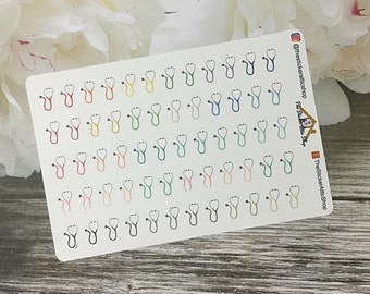 60 Stethoscope Planner Stickers / Doctor appointment planner stickers for Erin Condren, Happy Planner, Kikki k, Filofax and others