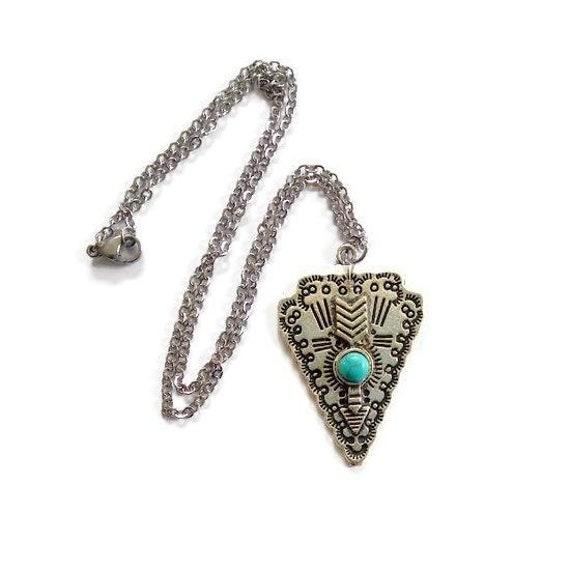 Hammered Silver Pendant Oxidized Arrow Charm Rustic Silver Spearhead Pendant Arrowhead Pendant AU999 Gold Silver Arrowhead Jewelry