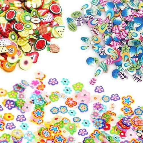 50/100 Fimo Slices/ Fruit Cane Slices, Flower Cane Slices, Feather Cane Slices/ Fimo Cane Slices/ Polymer Clay Slices/ Fimo Nail Art Decals