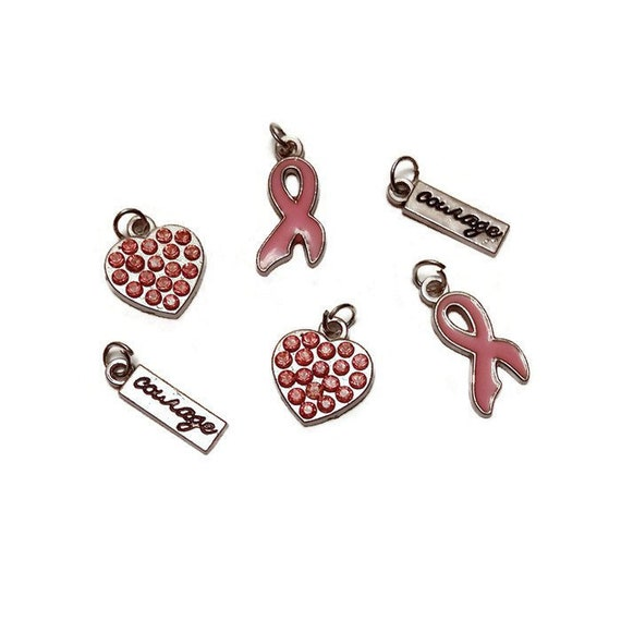 6pcs Silver Plated Pink Crystal Rhinestone Breast Cancer AWARENESS charms