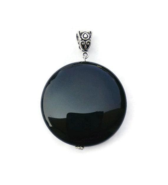 natural black onyx pendant,onyx pendant,925 silver pendant,black onyx pendant,round shape pendant,black onyx gemstone