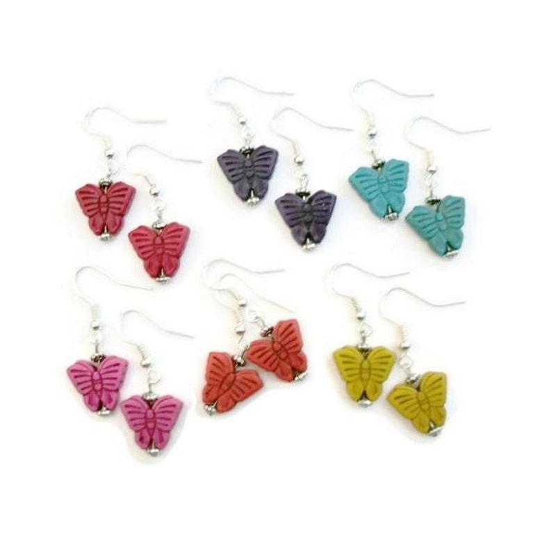 7c8da5a5170 Butterfly Silver Dangle Earrings / Red Pink Orange Yellow | Etsy