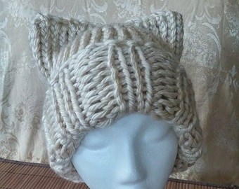 Cream Cat Ears Hat #01009